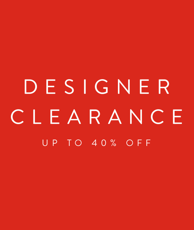 Designer Clearance: up to 40% off collections for men.