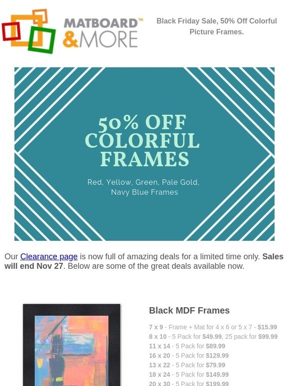 0a28836b91 Matboard and More  50% Off Colorful Frames for Black Friday