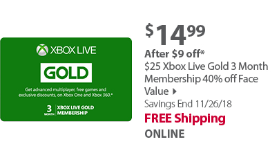 $25 Xbox Live Gold 3 Month Membership 40% off Face Value