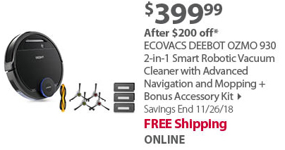 ECOVACS DEEBOT OZMO 930 2-in-1 Smart Robotic Vacuum Cleaner with Advanced Navigation and Mopping + Bonus Accessory Kit