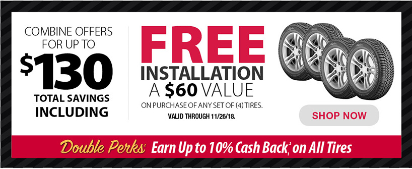 Tires Banner Up to $130 off (1) Set of (4) Bridgeston OR Michelin Tires When You Commbine Coupon with Free Installation Offer Page 11 of the Black Friday Mailer
