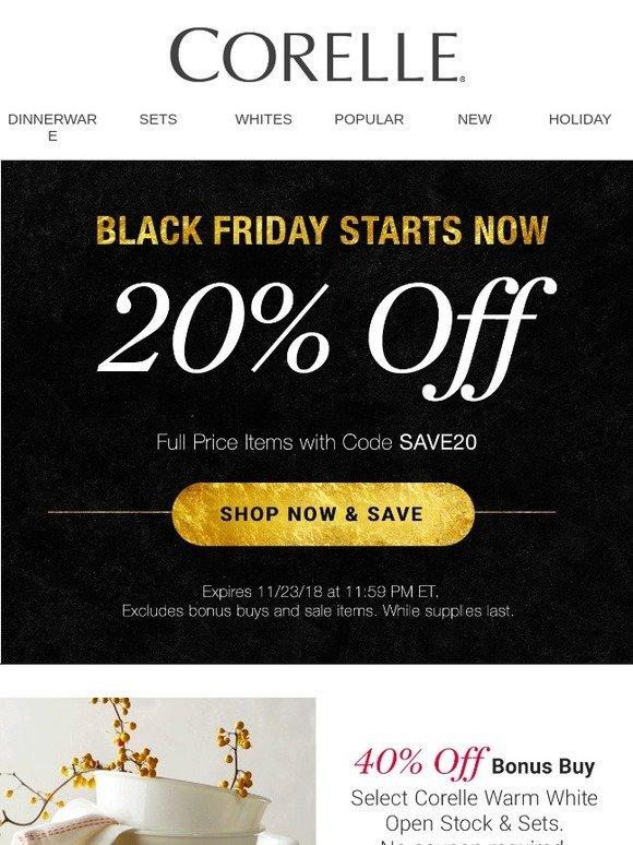 Corelle Black Friday Savings Start Now Milled