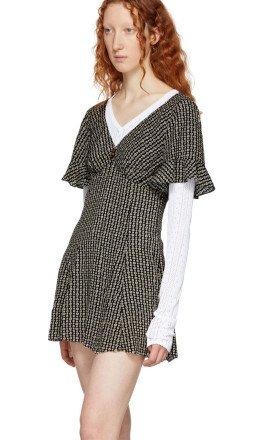 Marc Jacobs - Brown & Beige Redux Grunge Mini Dress