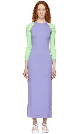 Marc Jacobs - Purple & Green Redux Grunge Color Block Dress