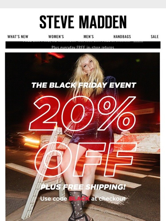 29e6a4dfbd4 Steve Madden Canada  Black Friday   20% Off Sitewide!