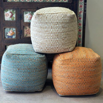 Maja Artisan Fabric Cube Pouf