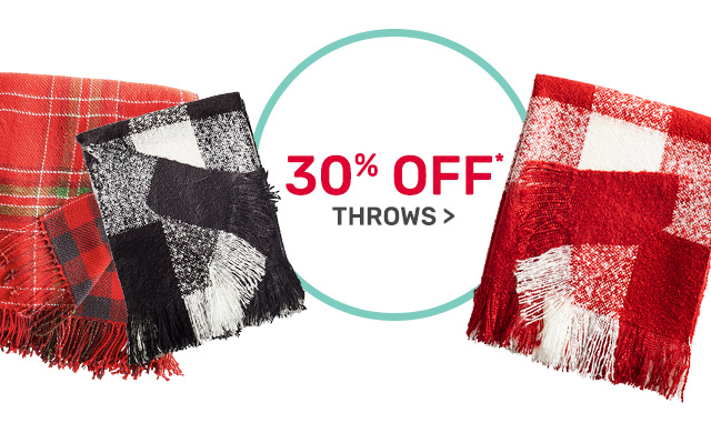 Save thirty percent on throws.