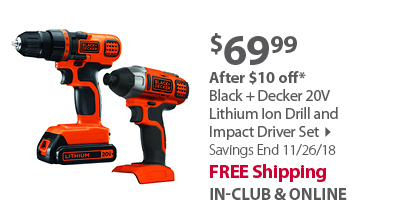 Black + Decker 20V Lithium Ion Drill and Impact Driver Set