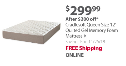 Cradlesoft Queen Size 12 Quilted Gel Memory Foam Mattress
