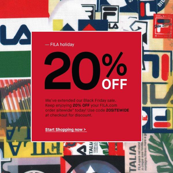 FILA  Keep Saving! 20% Off Sitewide Sale EXTENDED  5001b4249aaea