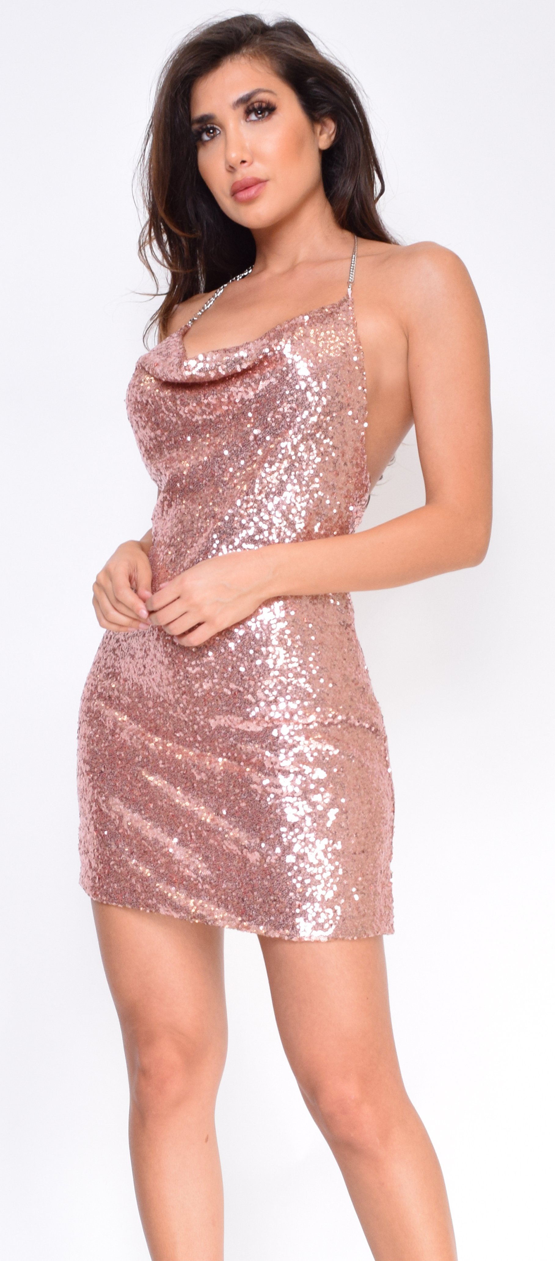60f63ef22544 Image of Aliyona Rose Gold Drape Chain Sequin Dress