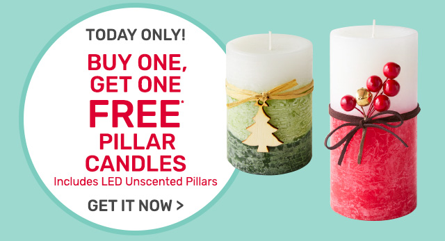 Buy one, get one free pillar candles, including LED unscented pillars.