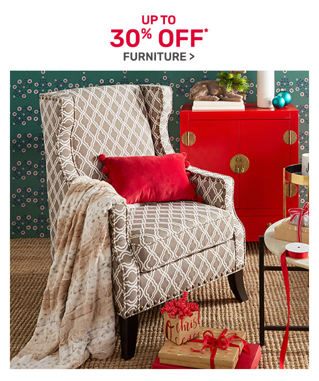 Save up to thirty percent off furniture.