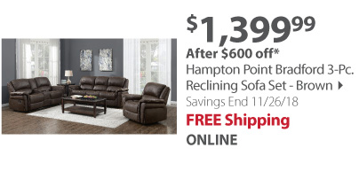 Hampton Point Bradford 3-Pc. Reclining Sofa Set - Brown