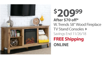 "W. Trends 58"" Wood Fireplace TV Stand Consoles"