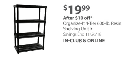 Organize-It 4-Tier 600-lb. Resin Shelving Unit