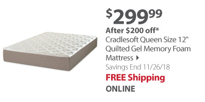 "Cradlesoft Queen Size 12"" Quilted Gel Memory Foam Mattress"