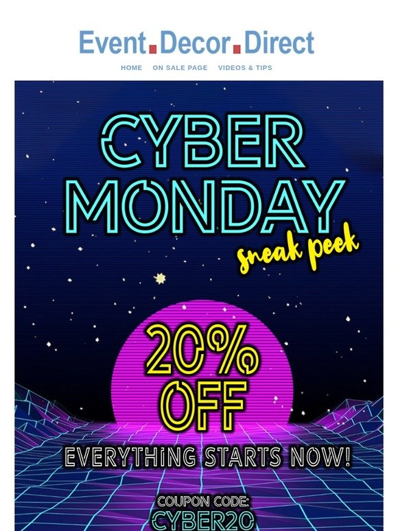 Event Decor Direct Enjoy This Cyber Monday Early Access Pass Milled