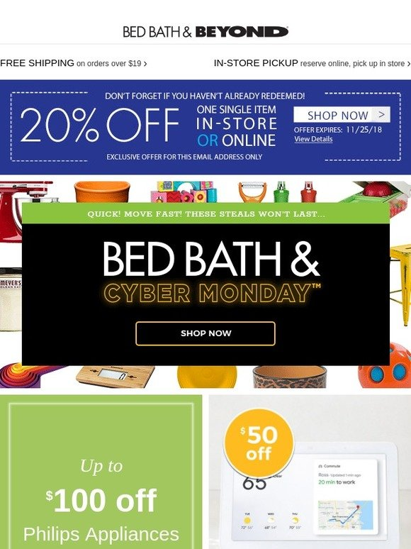Bed Bath And Beyond Cyber Monday Deals One Day Early Your Last Chance To Use Your 20 Coupon Milled