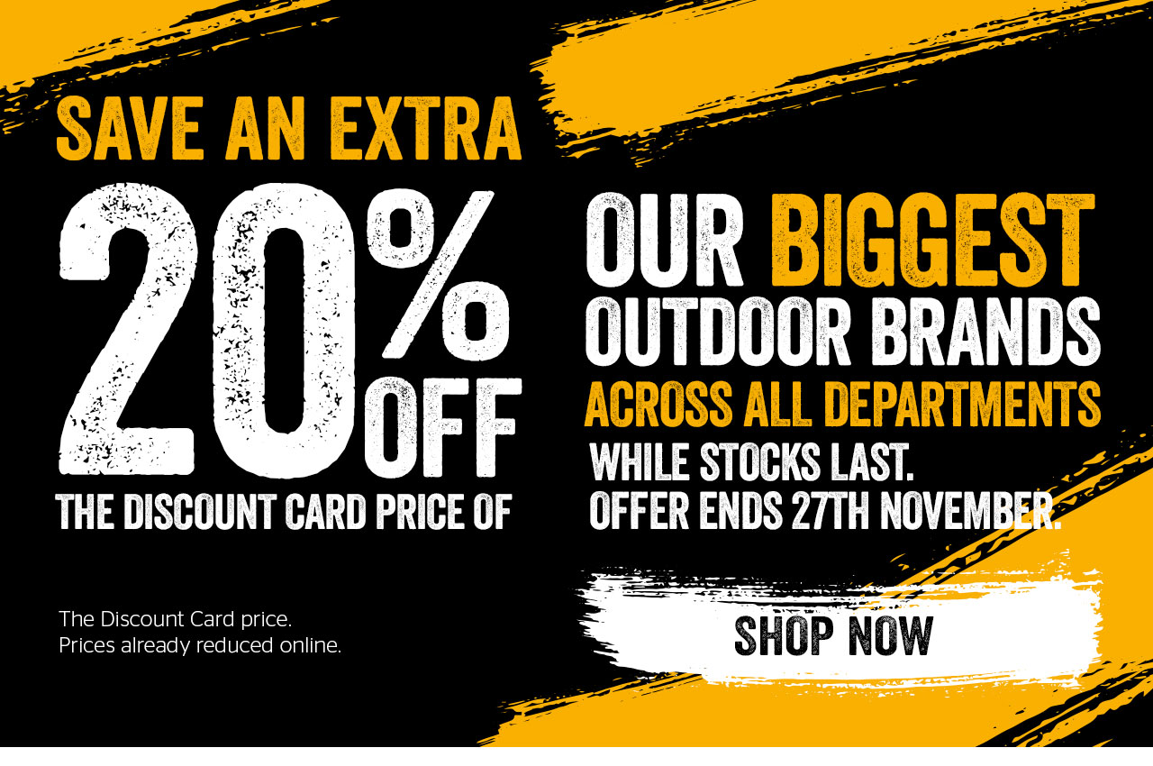 20% off our biggest outdoor brands