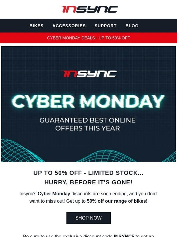 Insync Bikes UK: IT'S NOT OVER: Up to 50% Off Bikes In Our