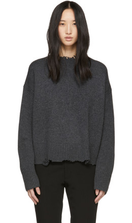 Helmut Lang - Grey Distressed Crewneck Sweater
