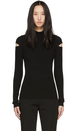 Helmut Lang - Black Slash Rib Turtleneck