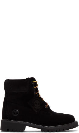 Off-White - Black Timberland Edition Velvet Boots