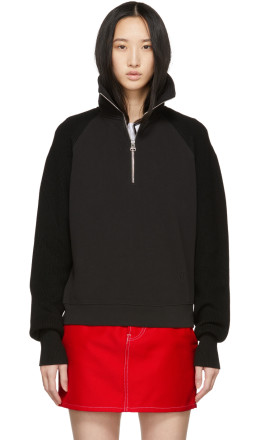 Helmut Lang - Black Sweater Combo Zip Sweatshirt