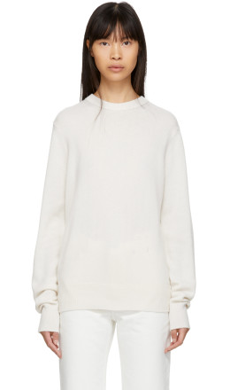 Helmut Lang - Off-White Cashmere Crewneck Sweater