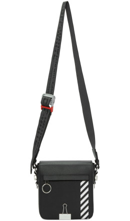 Off-White - Black Diag Binder Clip Bag
