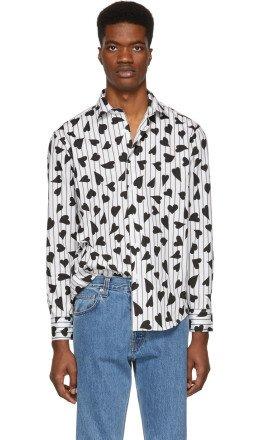 JW Anderson - Black & White Heart Stripe Shirt
