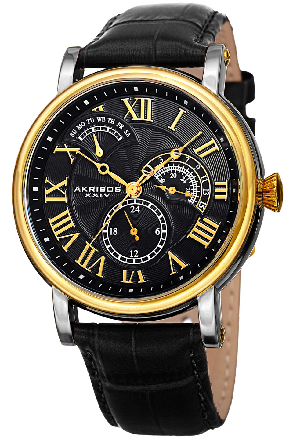 Men's Multifunction Genuine Leather Strap Watch in Black