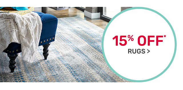 Save fifteen percent on rugs.