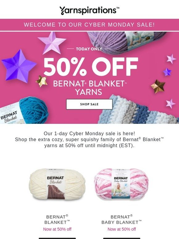 Yarnspirations: ⚡CYBER MONDAY ⚡50% Off Bernat Blanket + last