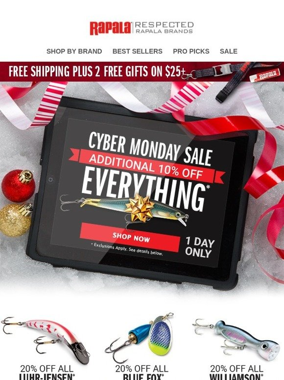 Rapala: One Day Only! Cyber Monday Sales Plus Extra 10% Off