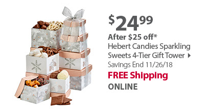 Hebert Candies Sparkling Sweets 4-Tier Gift Tower