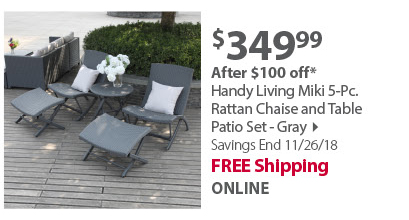 Handy Living Miki 5-Pc. Rattan Chaise and Table Patio Set - Gray