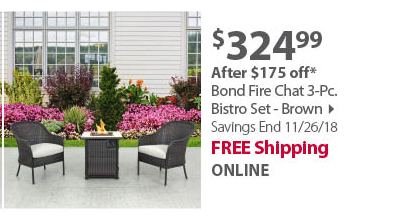 Bond Fire Chat 3-Pc. Bistro Set - Brown