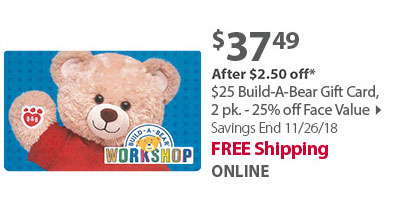 $25 Build-A-Bear Gift Card, 2pk 25% Off Face Value