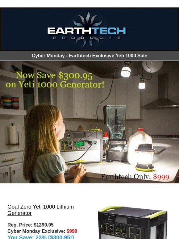 Yeti Cyber Monday Sale >> Earthtech Products Cyber Monday Sale New Must See Items Just In