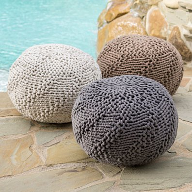 Ashbury Indoor/Outdoor Hand Knit Fabric Weave Pouf