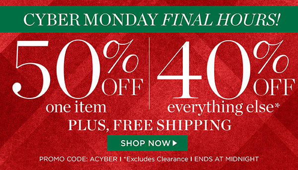 Cyber Monday EXTENDED! 50% off 1 item and 40% off everything else, plus free shipping on all orders. Promo code ACYBER. Shop Now!