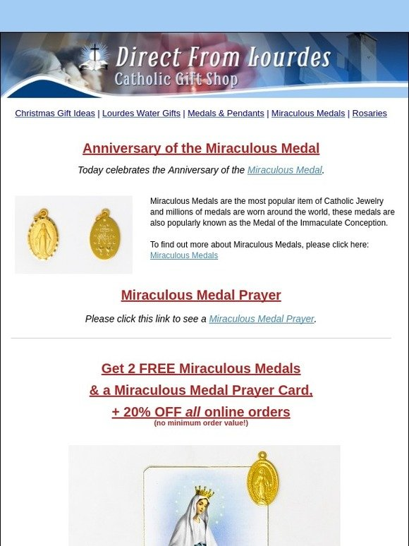 catholic gift shop ltd: Miraculous Medal Anniversary - 20% OFF +