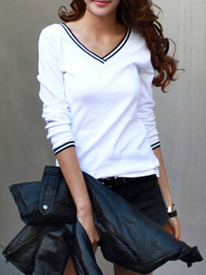 2f87e28575c07e Autumn Spring Polyester Women V-Neck Plain Long Sleeve T-Shirts