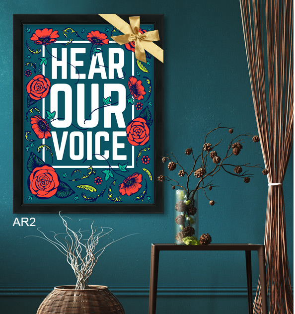 Hear Our Voice activist poster printed and framed in black studio AR2.