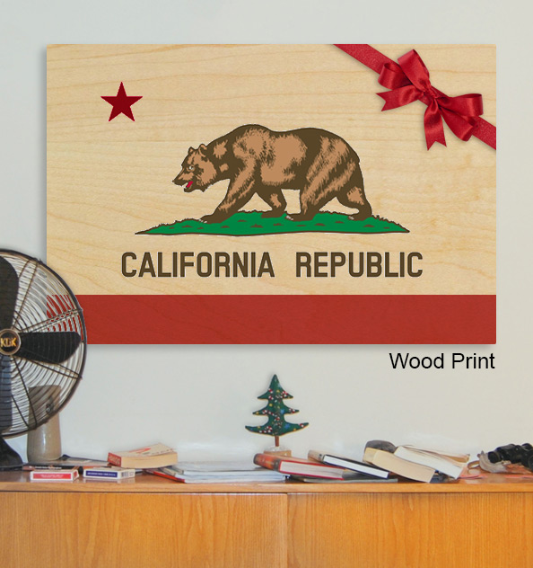 California Republic state motto print on wood.
