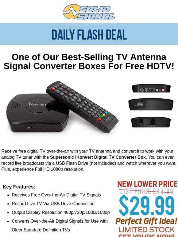Solid Signal: Price Drop! On Best-Selling TV Antenna Converter Box
