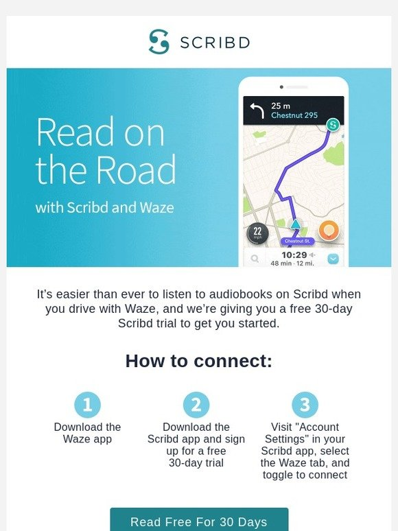 Scribd: Listen to Scribd while you drive with Waze | Milled