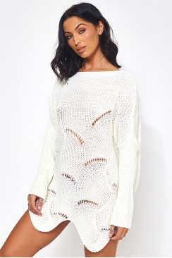 95103b65b7628 The Fashion Bible Eloise White Ribbed Sleeve Jumper